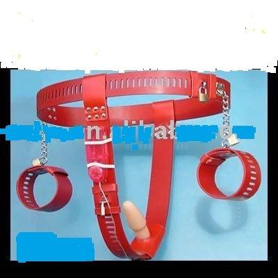 Rood Boeien Vibrerende En Belt Chastity Anusplug Zwart Met-39262