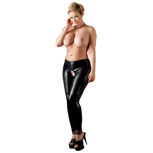 Met Latex Kruis Legging Open-48302